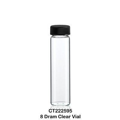100 Clear Borosilicate Glass Sample Vials w/ Screw Cap 25 x 95 mm 8 Dram - 30 ml ()