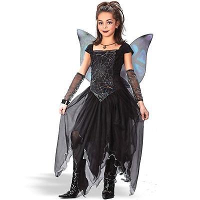 Girls Large 12 - 14 Goth Black Spiderweb Spider Fairy Butterfly Princess Costume - Girls Spider Fairy Costume