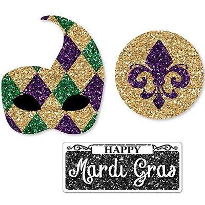 Big Dot of Happiness Mardi Gras - DIY Shaped Masquerade Party Cut-Outs -24 - Diy Mardi Gras Decorations