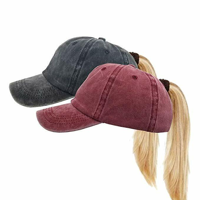2 Pack- Ponycap Messy High Bun Ponytail Adjustable Distressed Baseball Cap Hat Clothing, Shoes & Accessories