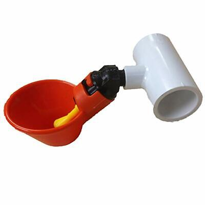 5 Chicken Water Drinker cups + White PVC fitting, Poultry, Hen Coop, system Farm