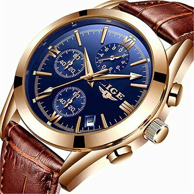 LIGE Mens Watch Leather Analog Quartz Wristwatch Men Date Business  Waterproof