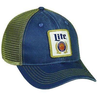 Miller Beer Hats Mesh Back Navy/Tan Adult Hat