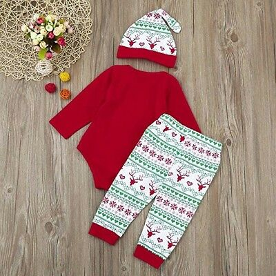 3pcs my first christmas Santa Clothes Set Newborn Infant Baby Boy Girl Outfits