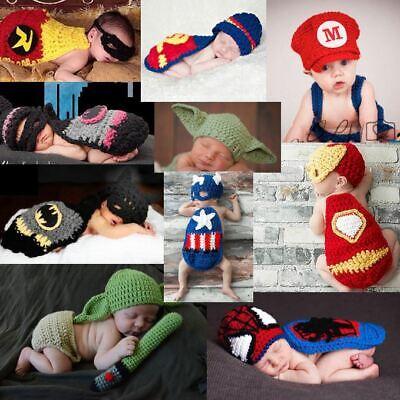 Superhero Newborn Baby Boy Girl Handmade Crochet Knit Photo Prop Halloween USA