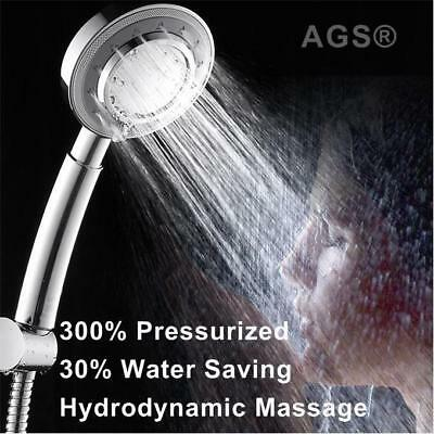Best High Pressure Shower Head Handheld Chrome Powerful Boosting 3-Mode