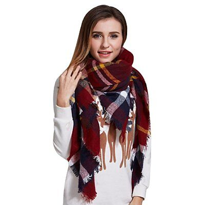 Fashion Plaid Blanket Scarf Tartan Stylish Wrap Shawl Gorgeous Women Winter