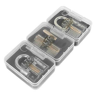 3pcs Clear Practice Lock Set Locksmith Training Kits Transparent Padlocks Tools