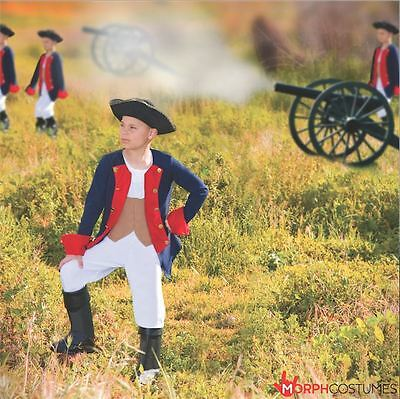 Boys Patriot Soldier Fancy Dress Costume American Civil War Military Outfit - Boys Military
