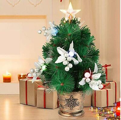 20 Inch Pre Lit Mini Tabletop Christmas Tree with LED Star Treetop Decorations ()