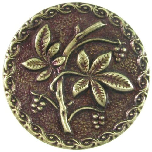 Large Victorian Metal Button, Leaves & Berries w/ Red Tint