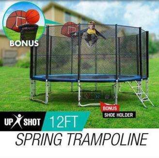 12ft Round Trampoline FREE Basketball Set Safety Net Spring Pad