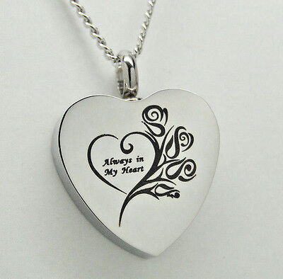 Always in my Heart Cremation Jewelry Ashes Necklace Memorial Keepsake Urn Urns