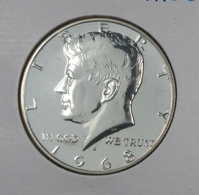 1968-S PROOF KENNEDY HALF DOLLAR FROM MINT PROOF SET 40% SILVER UNCIRCULATED