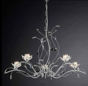 Lampadario moderno lampada 5 luci acciaio cromato for Lampadari in acciaio moderni