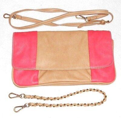 d3550750f4 ESSENTIEL ANTWERP sac à main pochette imitation cuir grainé camel & corail  TBE d'occasion
