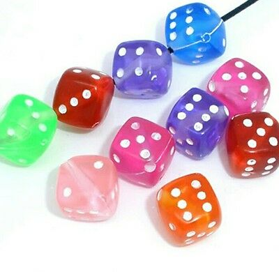50pcs dice cube shaped beads acrylic 9mm diagonal (Dice Cube Shape)