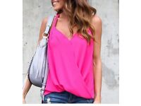 Draped Slip Top for women in Hot Pink