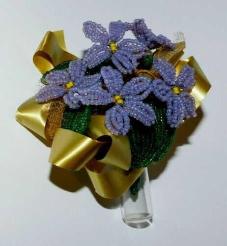 Unusual Hand Made Beaded Purple Flowers Boutonniere M