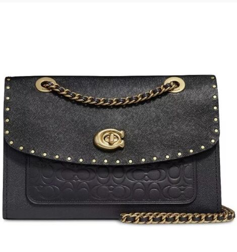 Coach Parker Signature Leather with Rivets Black Gold Shoulder Bag