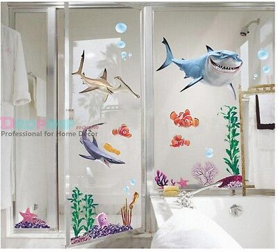 Removable Sea world Shark Fishes Animals Cartoons  wall Stickers for kids 18078 on Rummage