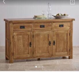 Oak Furniture Land Original Rustic Collection Solid Oak Sideboard