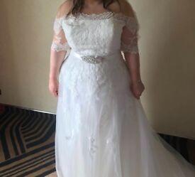 Bardot / Off the shoulder Wedding Dress Plus size