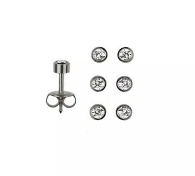 - 3 Pairs Of Studex Surgical Steel Piercing Earrings Clear April Birthstone