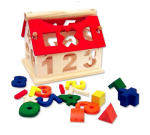 Kids Baby Boys Girls Play Games Wooden Digital Number House Building