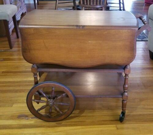 Vintage Pennsylvania House Drop Leaf Rolling Tea Cart, W/Single Drawer
