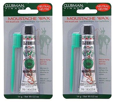 pack of 2 clubman pinaud moustache wax with free brush/comb neutral, 0.5 oz