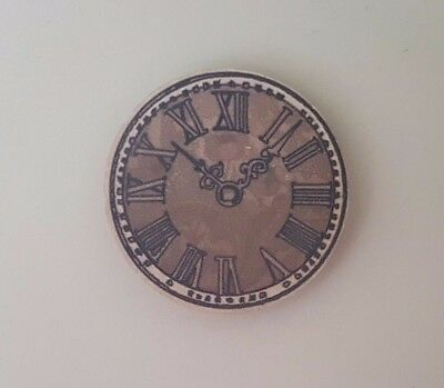 Vintage shabby chic wooden wall clock 1:12th scale dolls house miniature UK