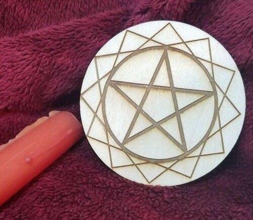 Wooden Pentacle Pentagram Altar Tile | Wiccan Divination with Sacred Geometry