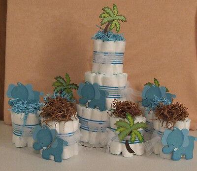 9 Diaper Cakes Baby Shower Centerpiece Umbrellaphants Blue  Pink Peanut - Pink Elephant Baby Shower Centerpieces