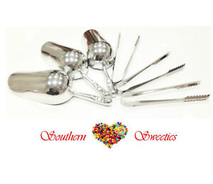 3-LOLLY-SCOOPS-3-CANDY-TONGS-CANDY-BUFFET-LOLLIES-SERVING-SET
