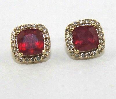 Cushion Cut Ruby & Diamond Halo Square Stud Earrings 14K Yellow Gold 3.14Ct