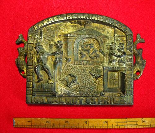 Rare Antique Farrel Herring & Co Fireproof Safe Old Bronze Plaque 1852 @
