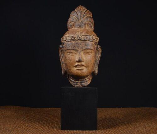Japanese Vintage Buddha Head Statue / W 14× H 40[ cm ]