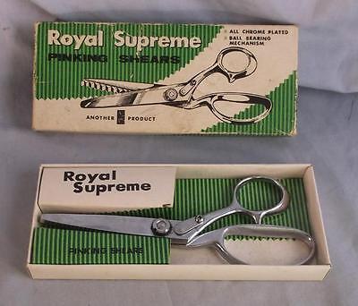 "VINTAGE ROYAL SUPREME 8"" PINKING SHEARS B6327 IN ORIGINAL BOX"