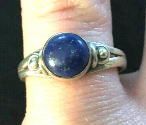 VTG Sterling Silver Ring Lapis Blue Round Cab Boho Sz 7.25 2.6g 925 #1230