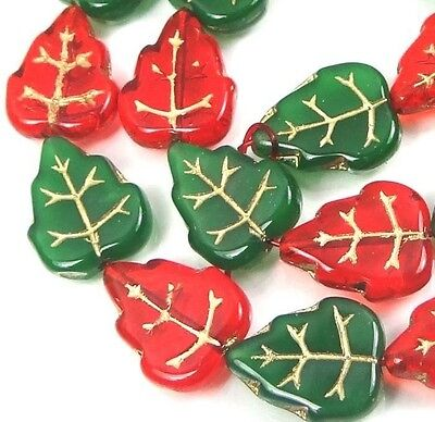 24 Czech Glass Christmas Leaves Beads Leaf - Opaque Green Siam Ruby  Gold Inlay