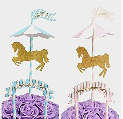 Cute Carousel Pony Cake Topper Birthday Party Baby Shower Cake Decoration Favor - Carousel Party Favors
