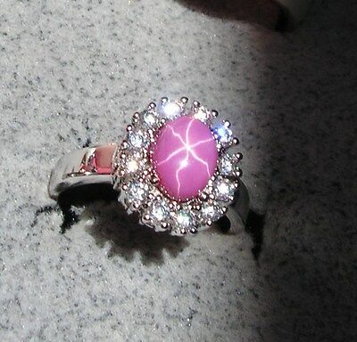 Halo Linde Lindy Pink Star Sapphire Created Ruby Second Ring Stainless Steel