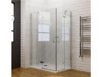 **1000 x 800MM CORNER ENTRY SHOWER ENCLOSURE PIVOT DOOR WITH SHOWER TRAY**