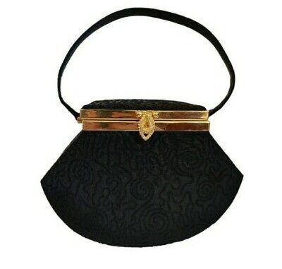 1950s Handbags, Purses, and Evening Bag Styles VTG 50-60s Box Mini Evening Bag Geometric Goldco W/Mirror Stunning Gold Hardware $55.85 AT vintagedancer.com