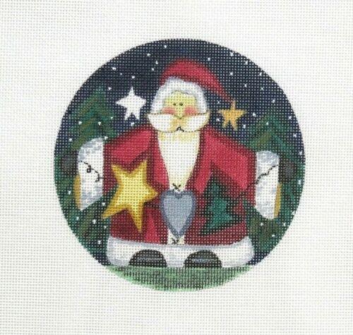 Danji / L. K Christmas Wishes Santa 40 Handpainted Needlepoint Canvas DD
