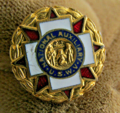Vintage National Auxiliary USWV Spanish American War Veterans Pin, Gold Filled