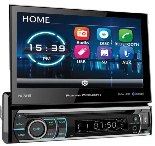 """POWER ACOUSTIK PD-721B SINGLE DIN BLUETOOTH DVD RECEIVER 7"""" TOUCH SCREEN MONITOR"""