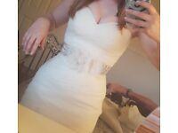 Beautiful ruched Essence of austrailia dress with beautiful diamond belt