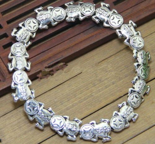 Old China tibet Silver Bracelet Collection Amulet Fish statue Fengshui